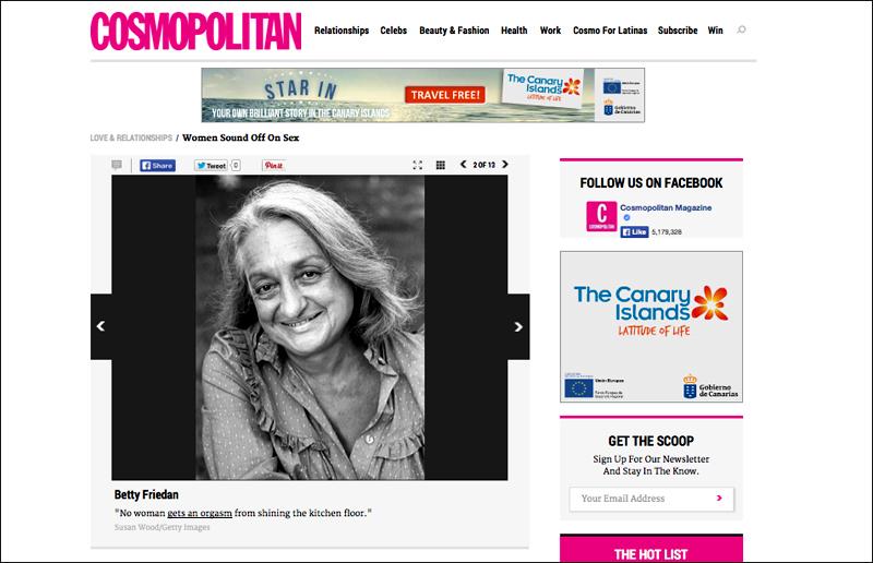Portrait of Betty Friedan by photographer Susan Wood in Cosmopolitan