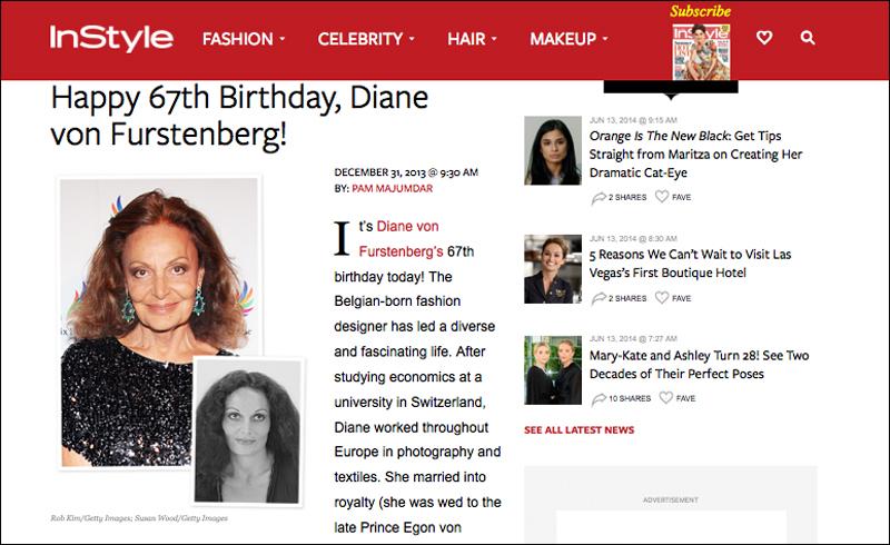 Portrait of Diane von Furstenberg by photographer Susan Wood in InStyle Magazine