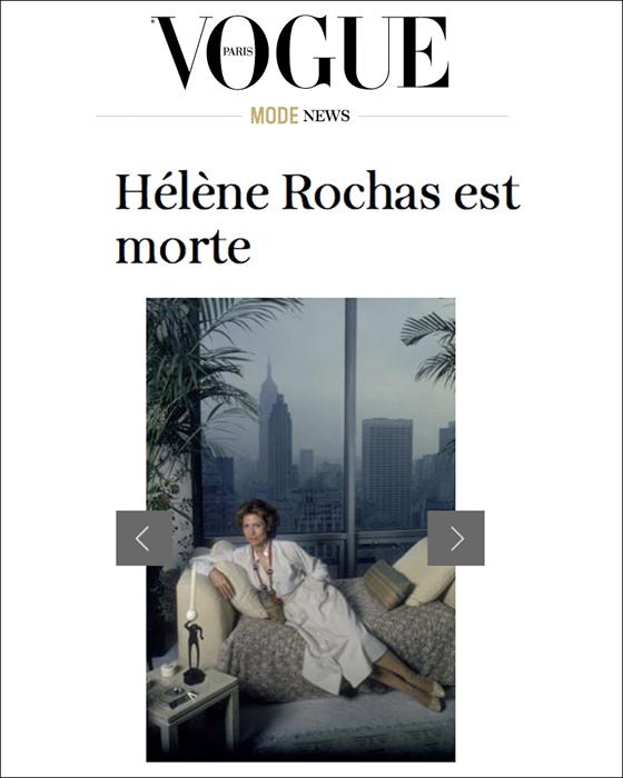 Portrait of Hélène Rochas in Paris Vogue by photographer Susan Wood