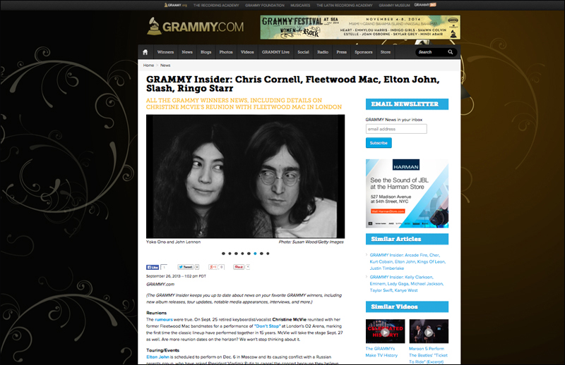 Portrait of John Lennon and Yoko Ono on Grammy.com by photographer Susan Wood