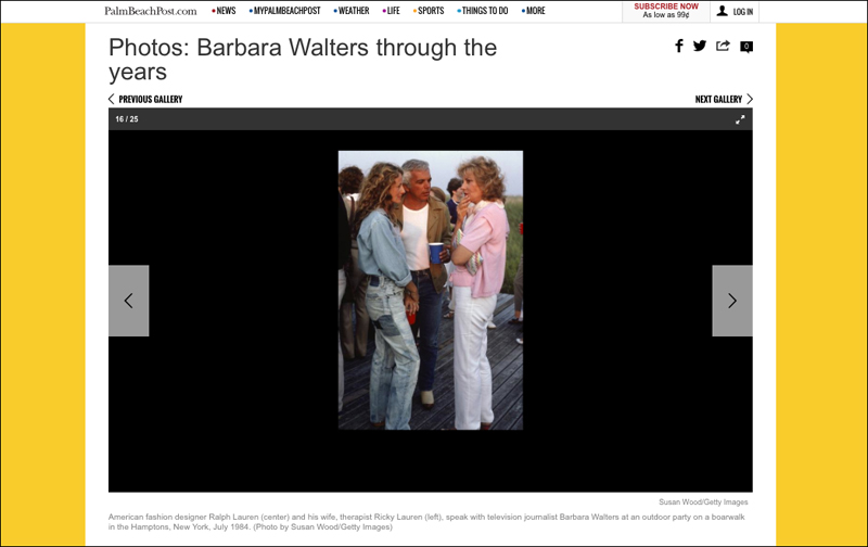 Barbara Walters in The Palm Beach Post