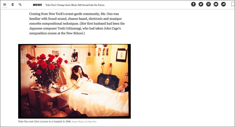 John Lennon & Yoko Ono in The New York Times