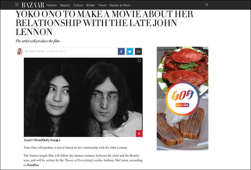 John Lennon & Yoko Ono In Harper's Bazaar