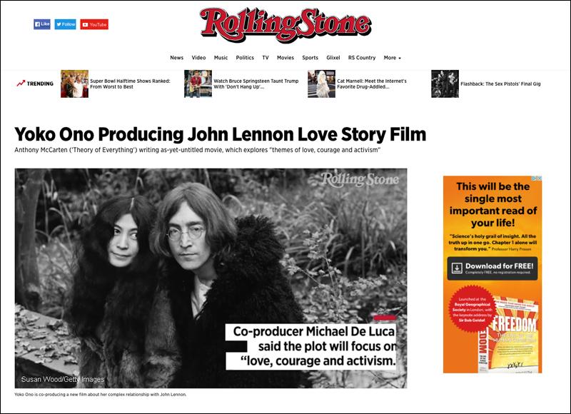 John Lennon & Yoko Ono in Rolling Stone